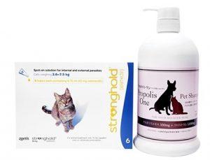 EU版レボリューション/ストロングホールド(猫用/2.6〜7.5kg) 6ピペット+ プロポリスワン・ペット用シャンプー1000ml 1本